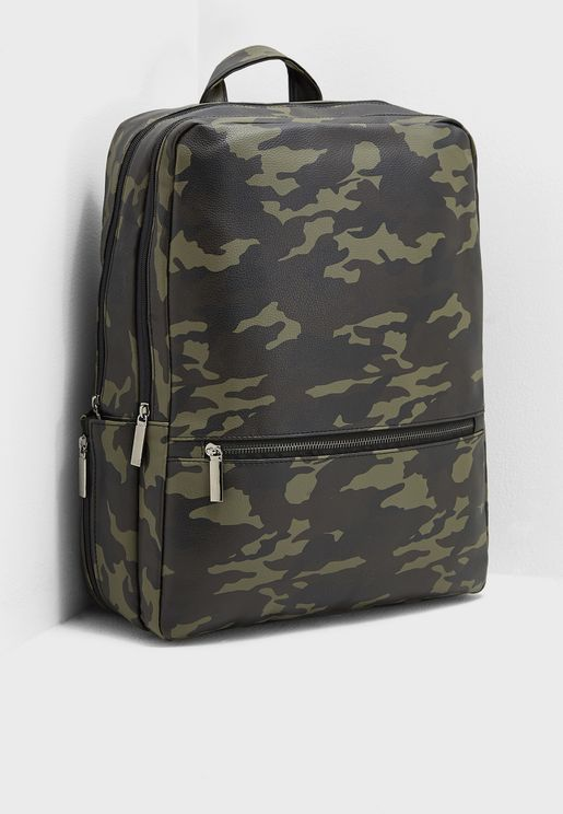 Camo Print Laptop Sleeve Backpack