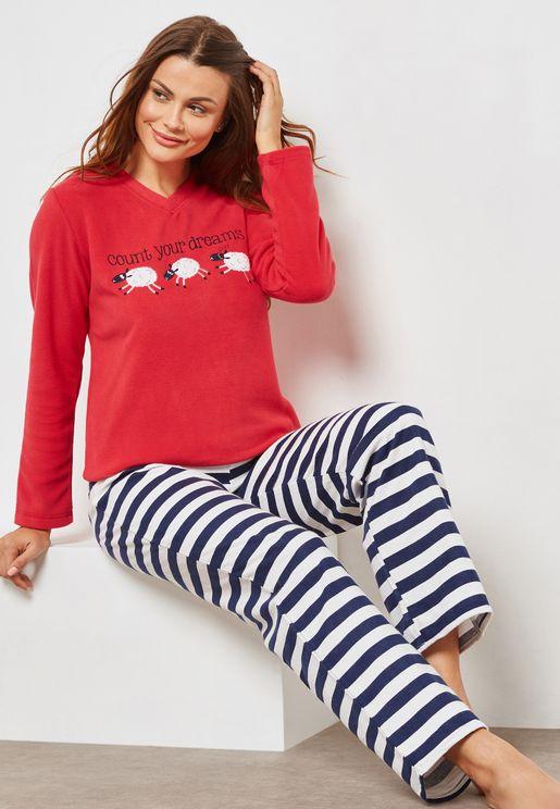 Sheep Striped Pyjama Set