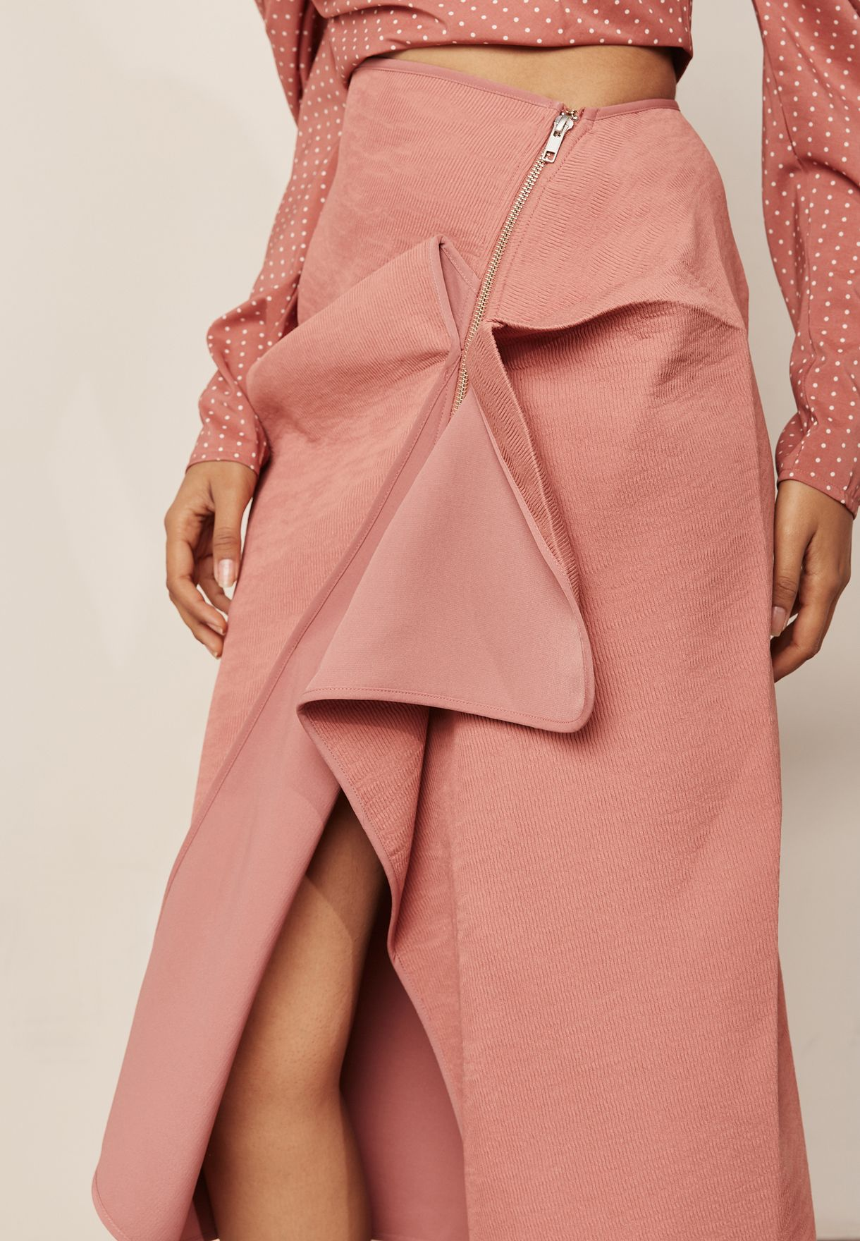 Asymmetric Zip Detail Skirt