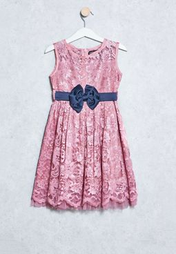 Kids Bow Belt Lace Dress