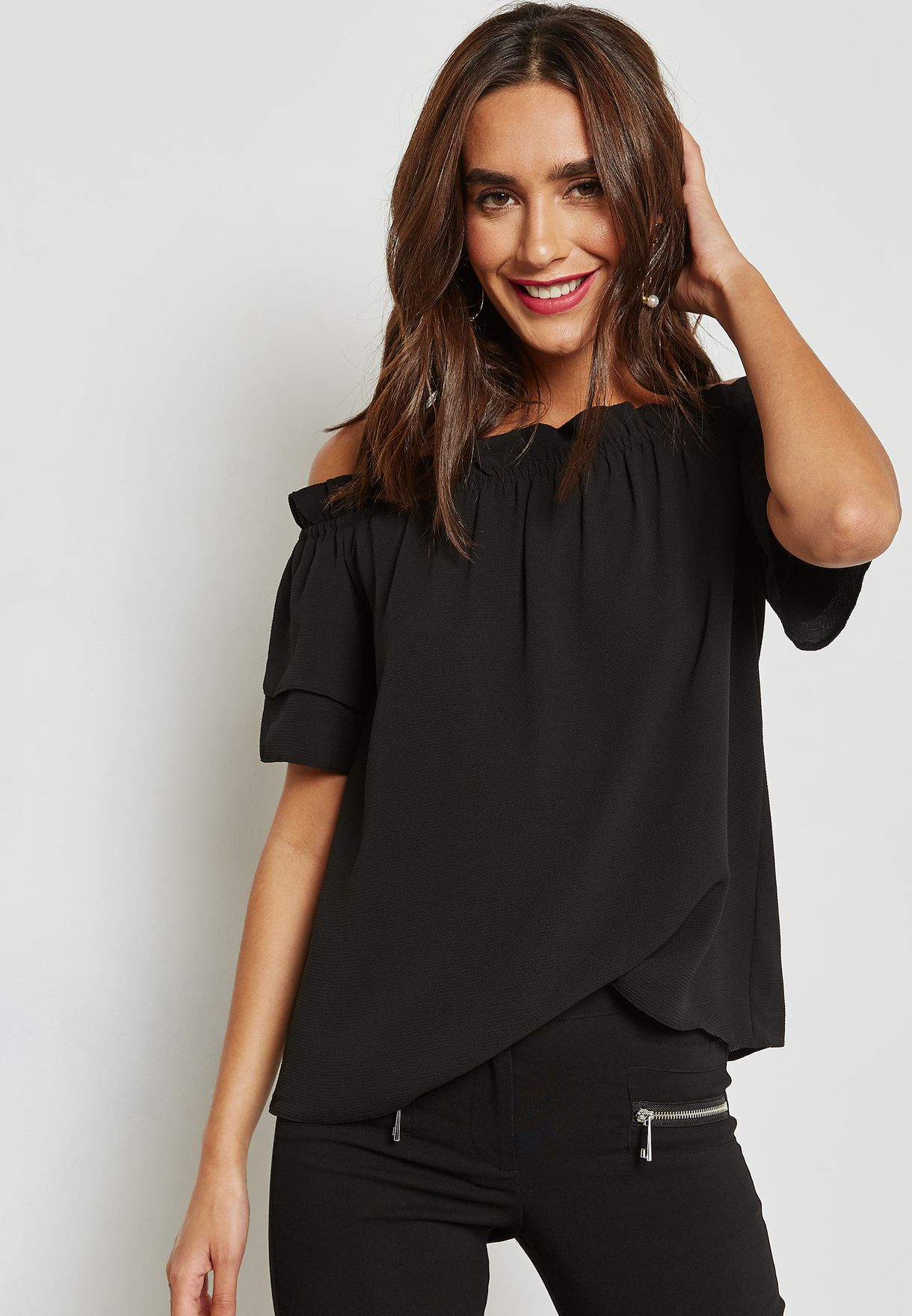 Ruffle Detail Bardot Top