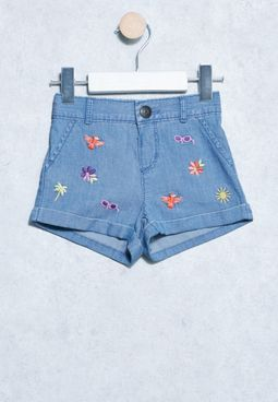 Infant Chamb Tie Waist Shorts