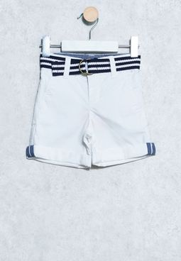 Kids Twill Belted Shorts