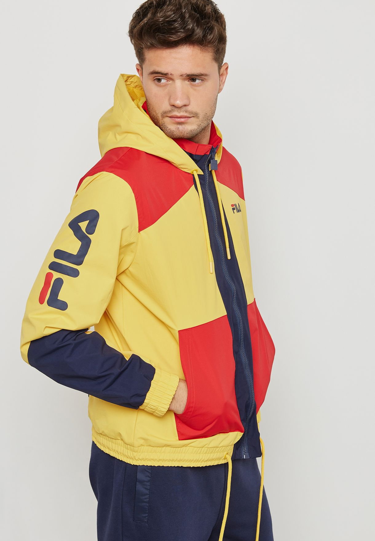 Shop Fila Yellow Earl Hooded Jacket Lm181l64 For Men In Saudi