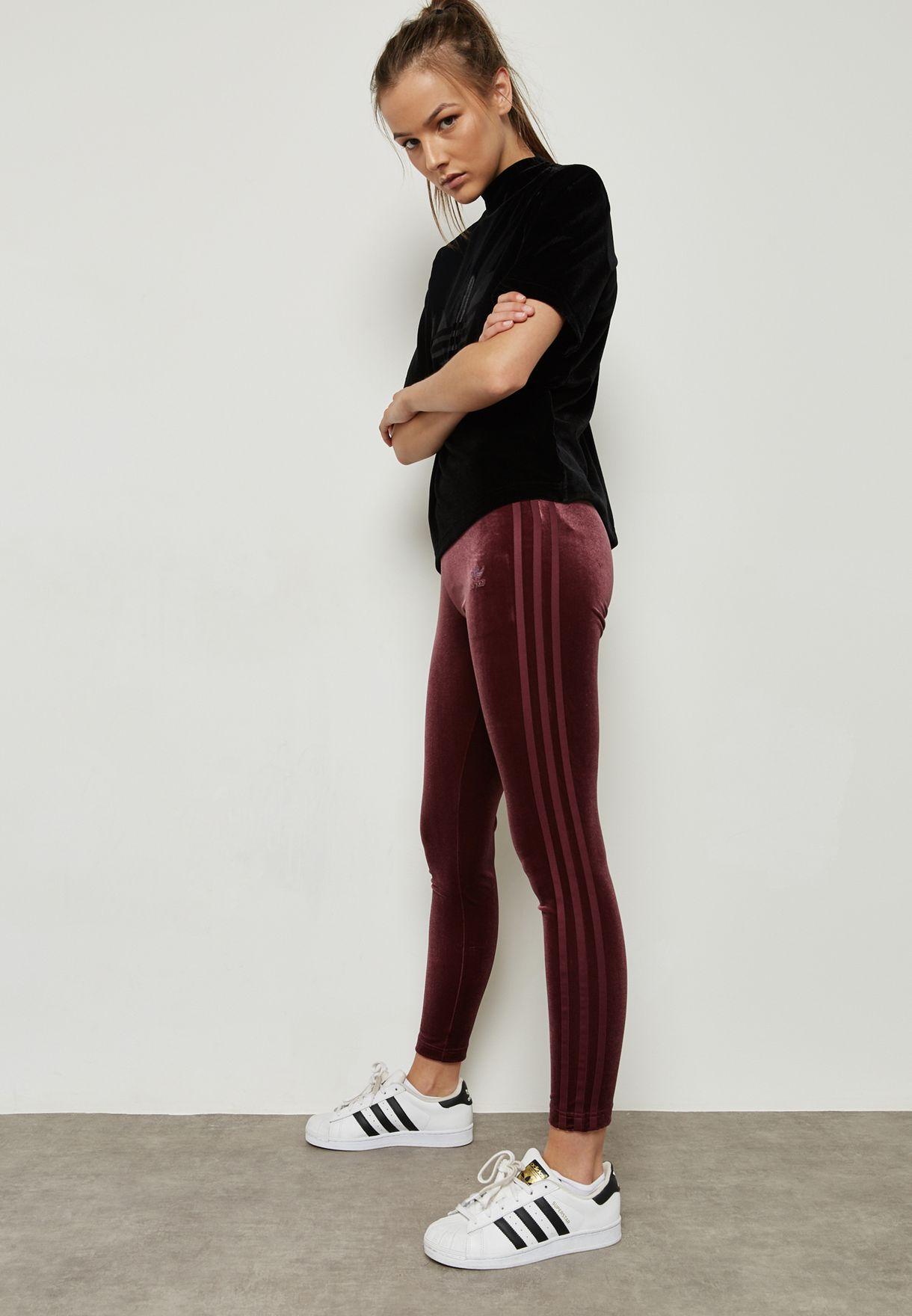 927791dedb86f8 Shop adidas Originals purple Velvet Vibes Leggings CW0276 for Women ...