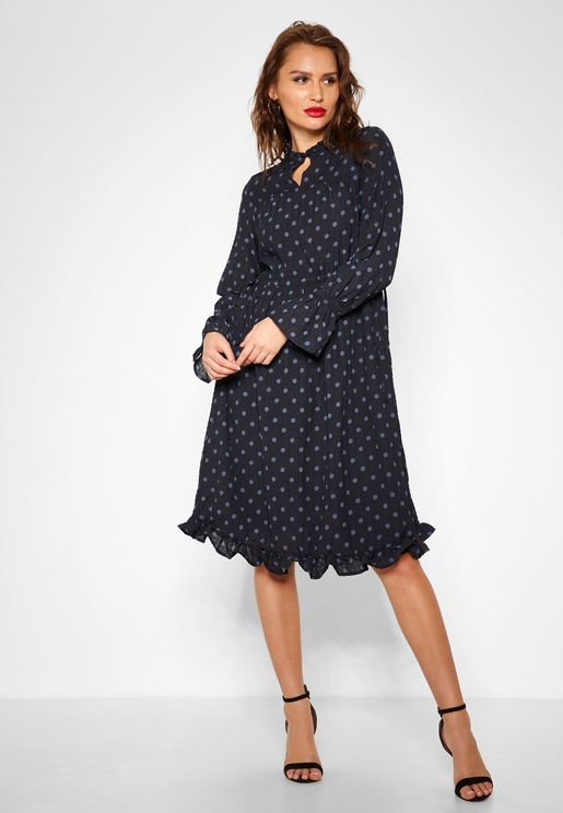 Long Sleeve Polka Dot Midi Dress