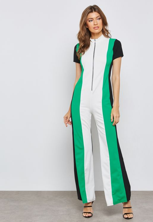Colourblock High Neck Jumpsuit