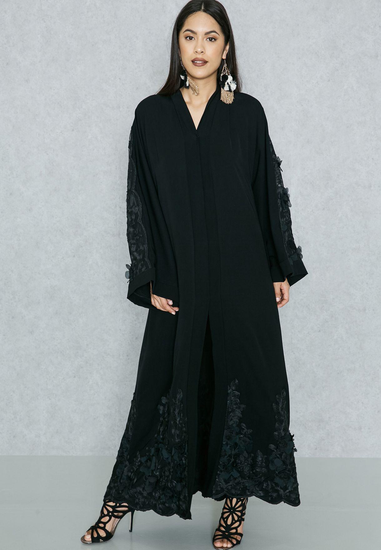 Lace Applique Detail Abaya