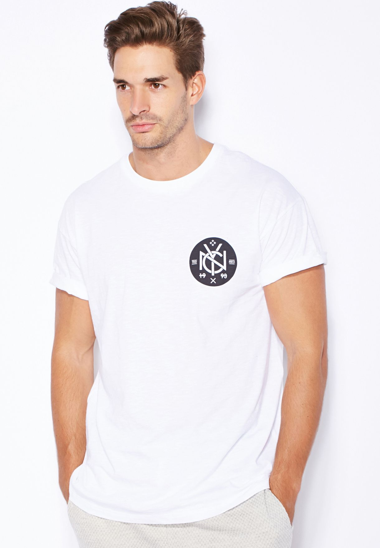 cd4ac8182 Shop Topman white Nyc Roller Fit T-Shirt 71Z30LWHT for Men in Qatar ...