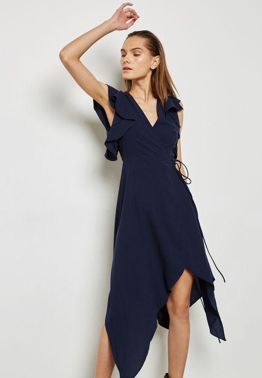 Wrap Front Tie Ruffle Sleeve Dress
