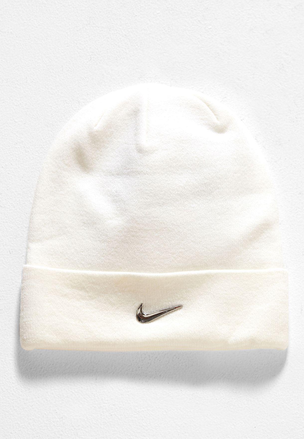 0e3708bc11e Shop Nike white Metal Swoosh Beanie 825577-100 for Kids in Oman ...