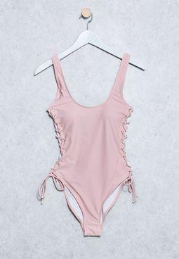 Lace Up Swimsuit