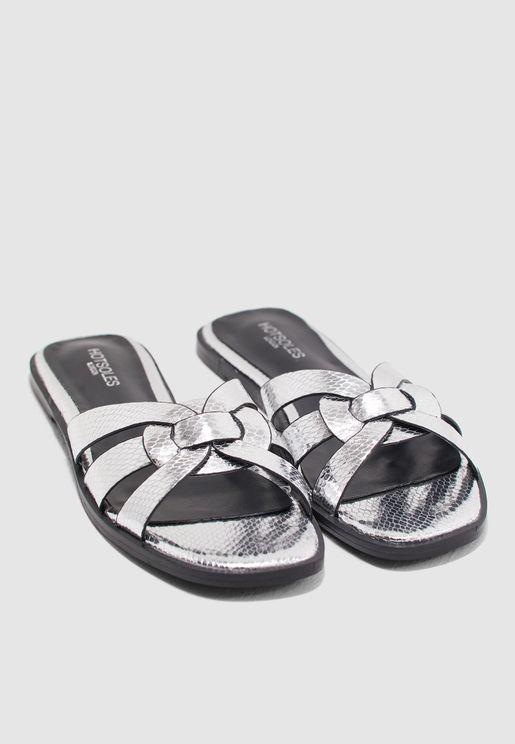 daa5d4fd9 Criss Cross Sandals In Metallic