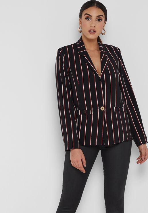 Striped Pocket Blazer