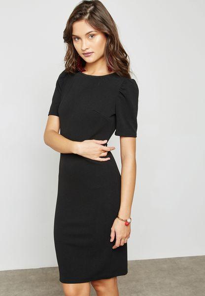 Puffed Sleeve Bodycon Dress