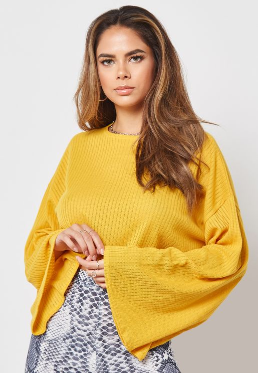 Puff Long Sleeve Cropped Sweater