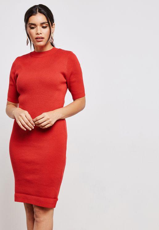 High Neck Short Sleeve Bodycon Dress