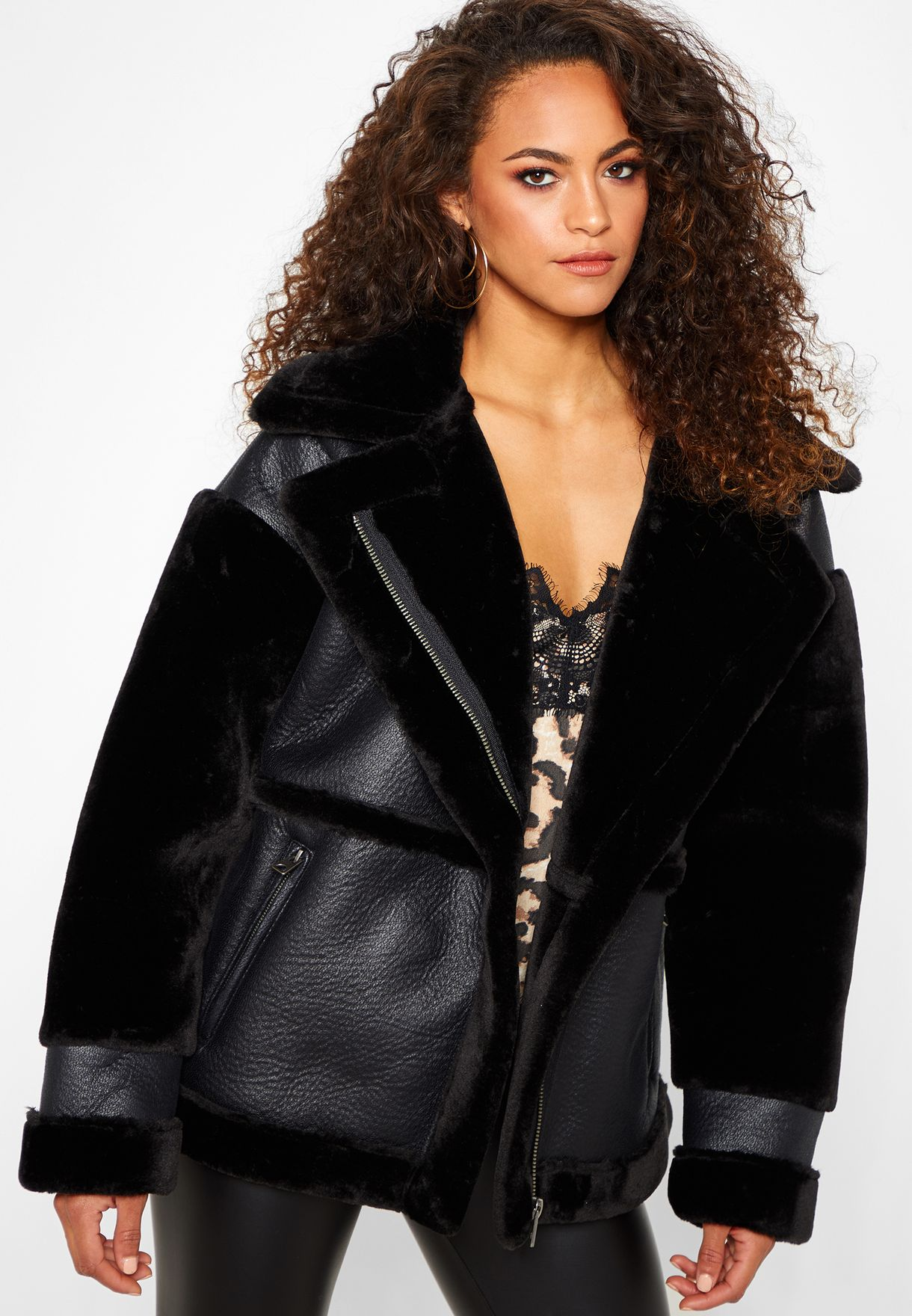 1e0ecd5dc Shop Missguided black Faux Fur Longline Aviator Jacket WSO1445791 ...