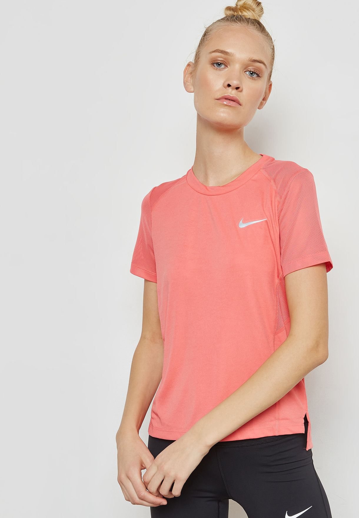 98fabf1332422 Shop Nike pink Dri-FIT Miler T-Shirt 932499-823 for Women in ...