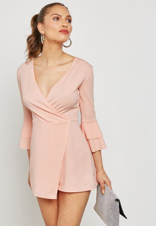 Wrap Front Flute Sleeve Playsuit