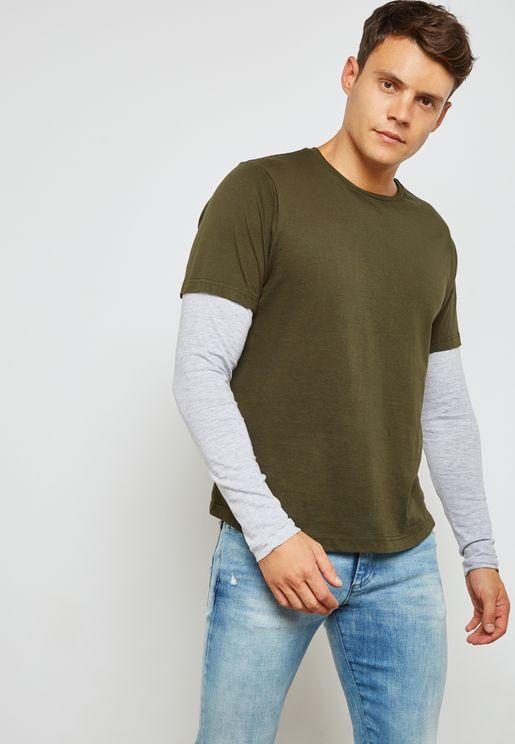 Binate Double Layered Crew Neck T-Shirt