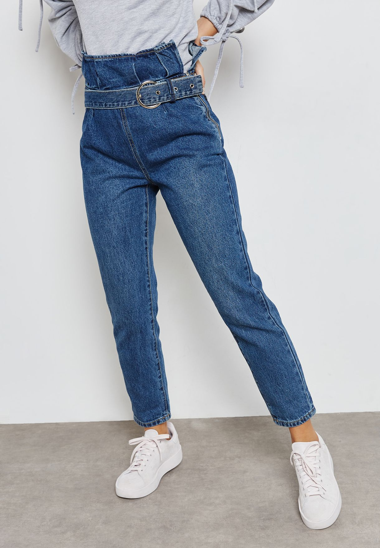 2ccf7461347 Shop Lost Ink Petite blue Paperbag Mom Jeans 1005114040130025 for ...
