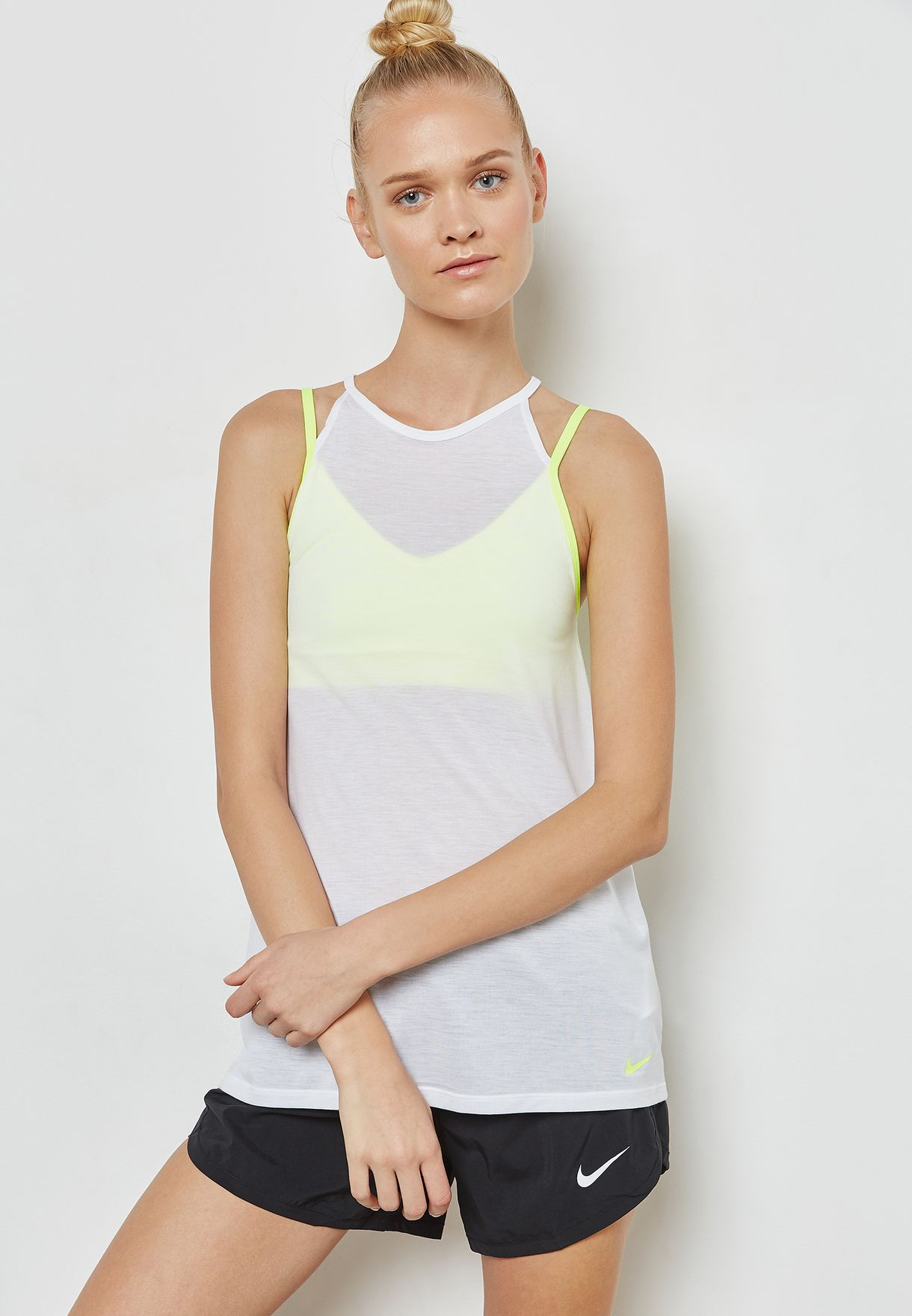 d2c7e3149ac2e5 Shop Nike multicolor Dri-FIT Strappy Tank 889077-100 for Women in ...