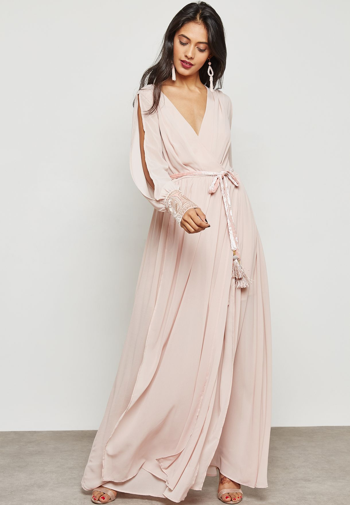Tie Waist Cold Shoulder Maxi Dress