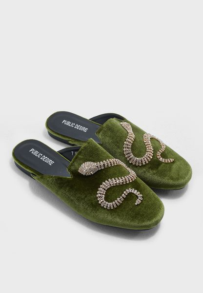 Lucent Diamante Snake Loafers