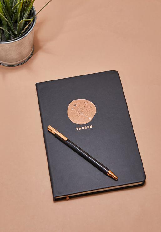 مجموعة دفتر ملاحظات برج الثور مع قلم