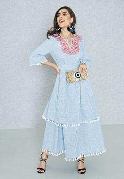 Embroidered Tassel Hem Self Tie Dress