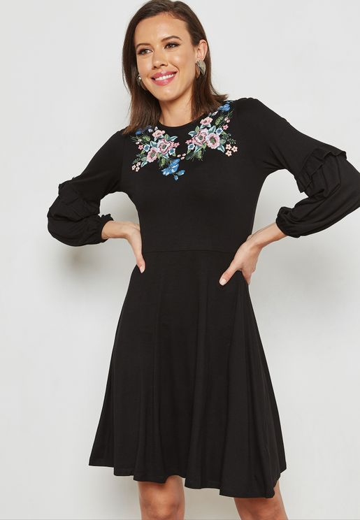 Embroidery Detail Skater Dress