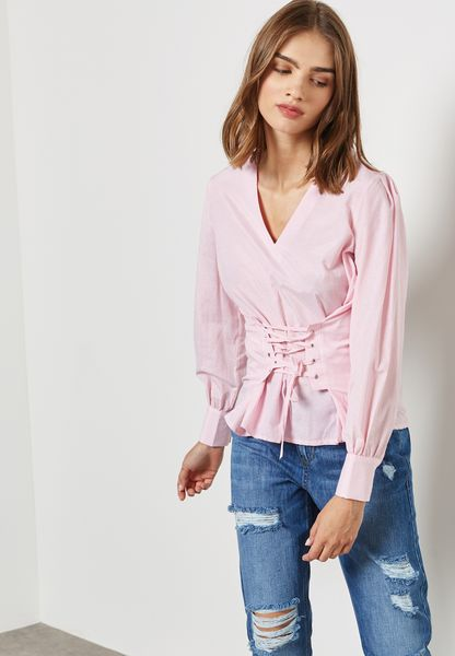 Lace Up Tie Cuffed Top