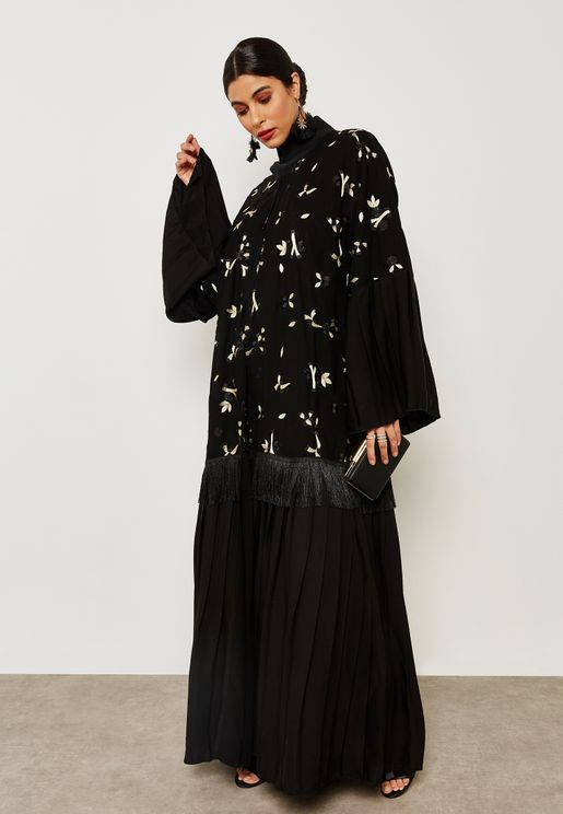 Embroidered Fringe Detail Abaya