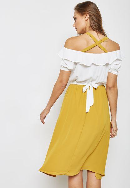 Ginger. Colourblock Ruffle Cold Shoulder Dress
