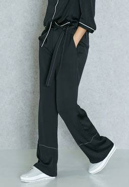 Contrast Stitched Belted Pants