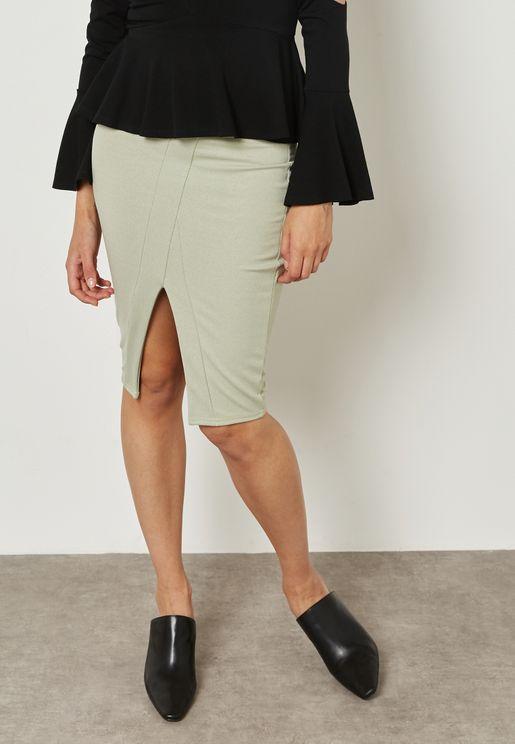 Scuba Wrap Front Skirt