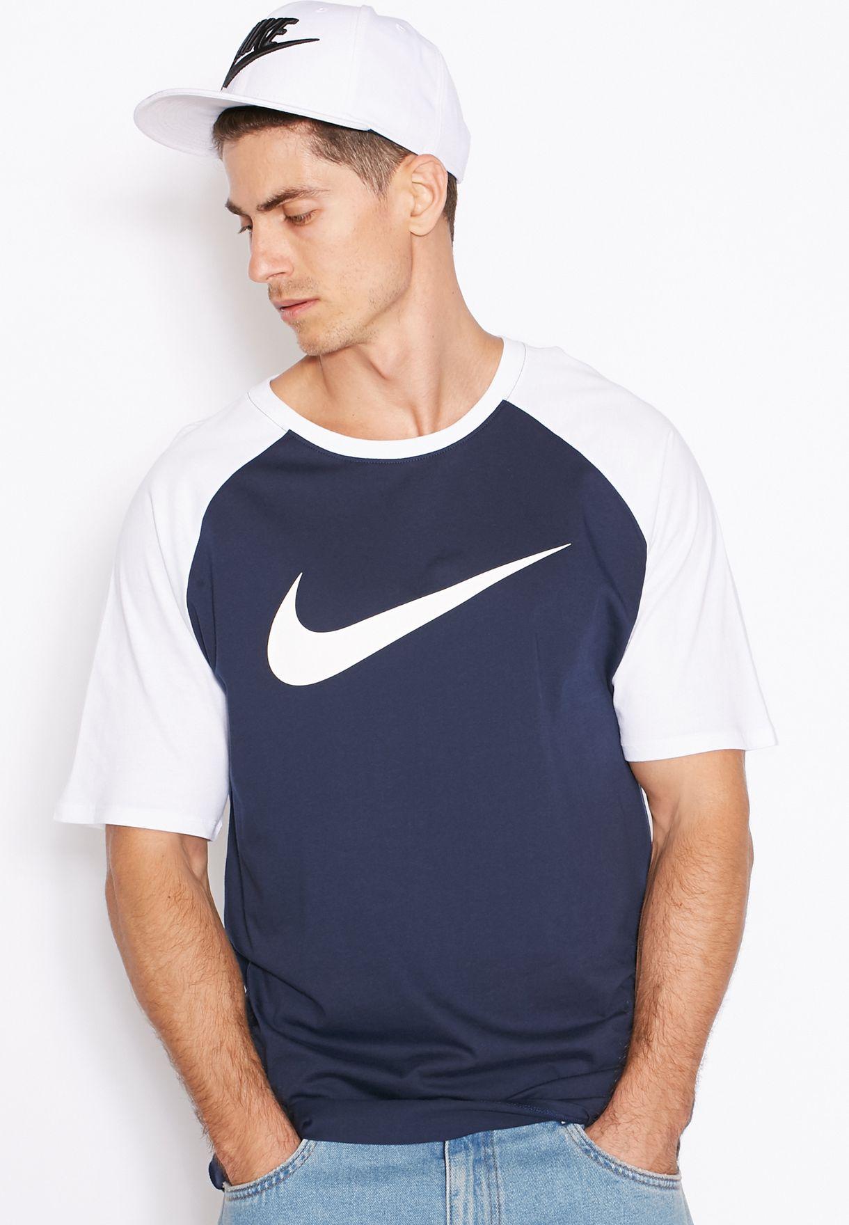 edf4abdc0 Shop Nike navy Raglan Swoosh T-Shirt 779696-451 for Men in Bahrain ...