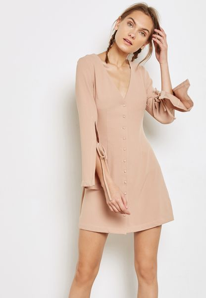 Tie Sleeve Buttoned Dress