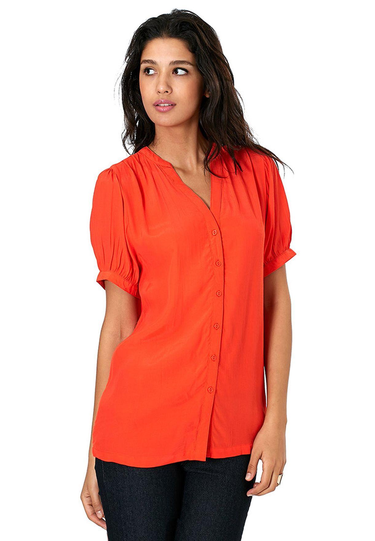 52355ffce59e87 Shop Ichi orange Short Sleeve Tunic for Women in Qatar - IC341AT30RPL