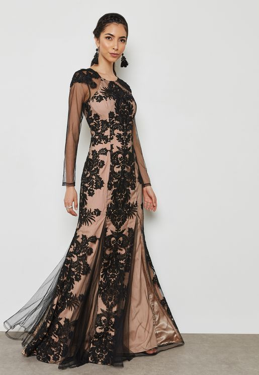 Mesh Sleeves Lace Dress
