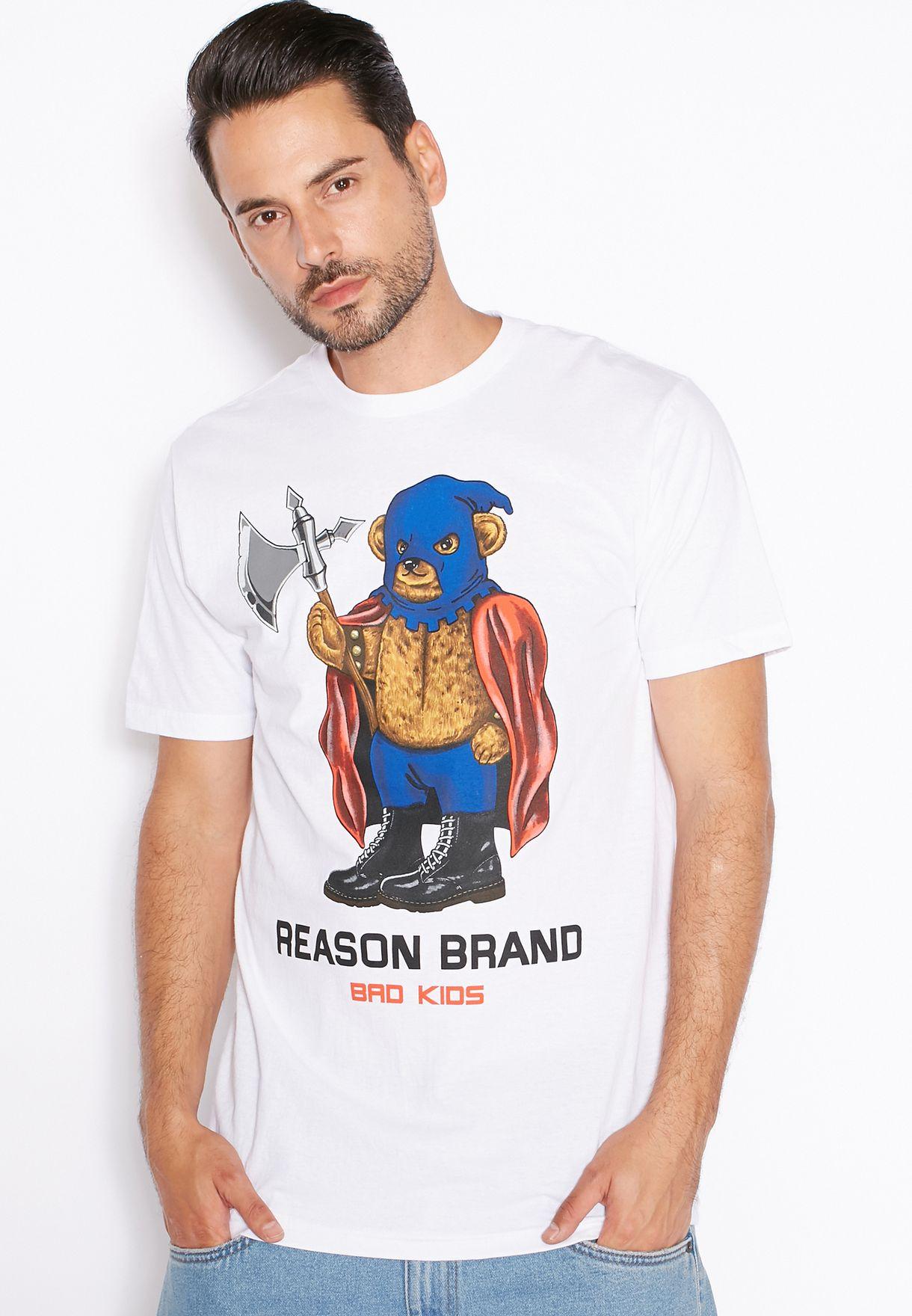 22d9210e Shop Reason white Brand Bear T-Shirt for Men in Bahrain - RE522AT30KYB