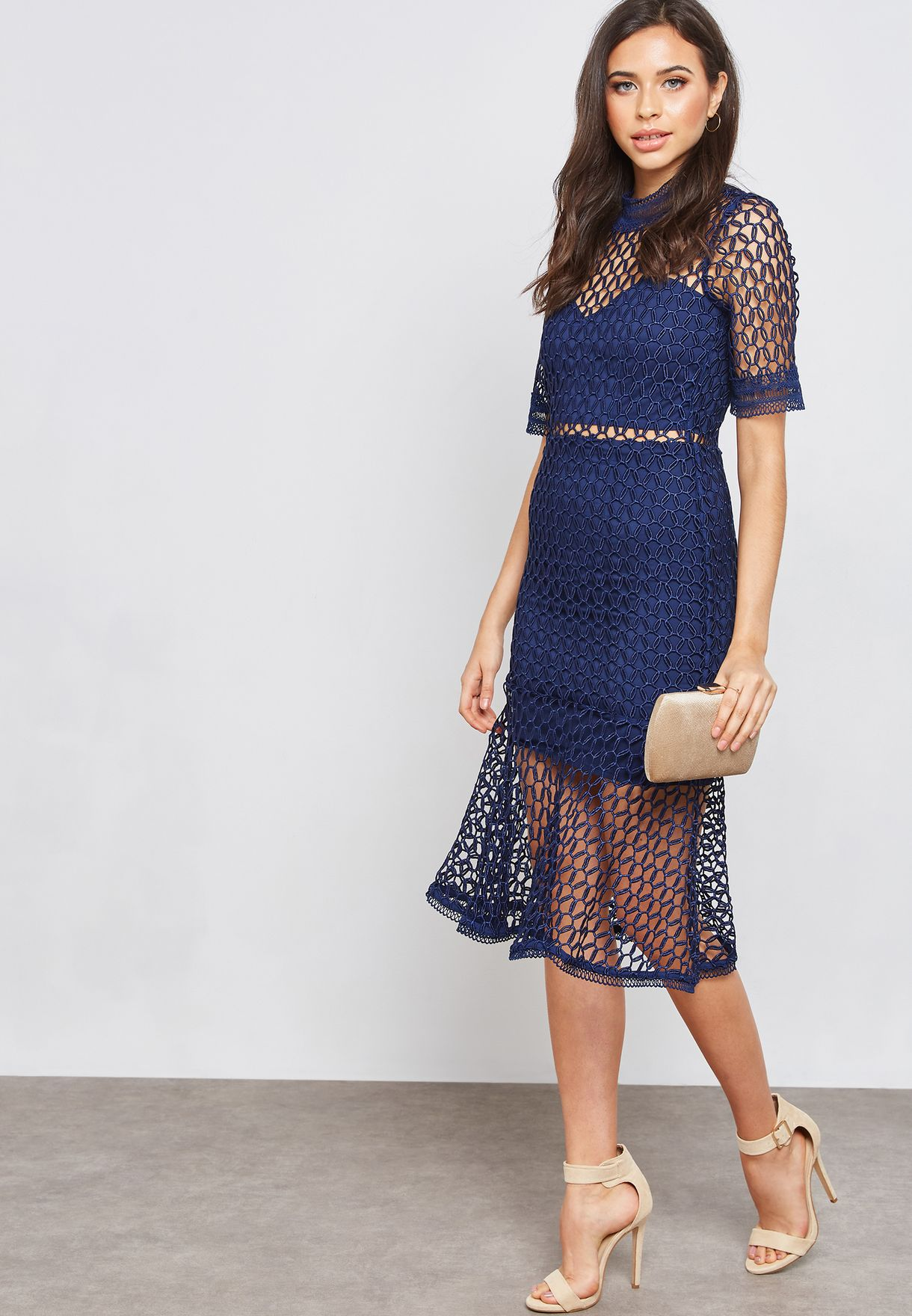 Lace Detail Fishtail Midi Dress