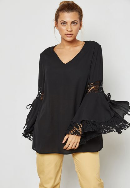 Lace Insert Flute Sleeve Top