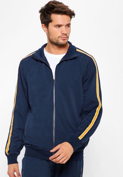 Striped Sleeve Zip Through Jacket