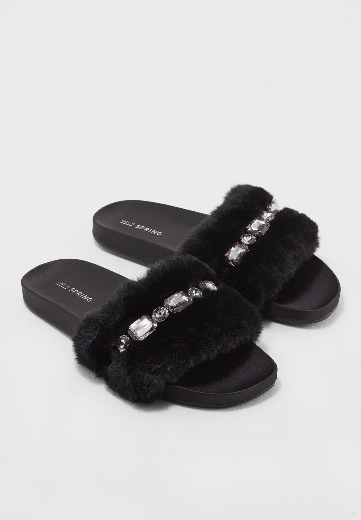 581d020d0404 Shop Call It Spring black Flat Faux Fur Pool Slide Sandal LARENIEL93 ...