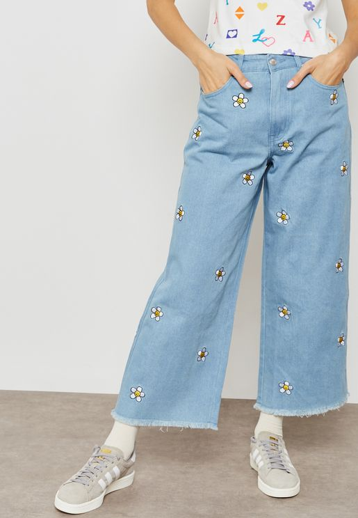 Daisy Embroidered Jeans