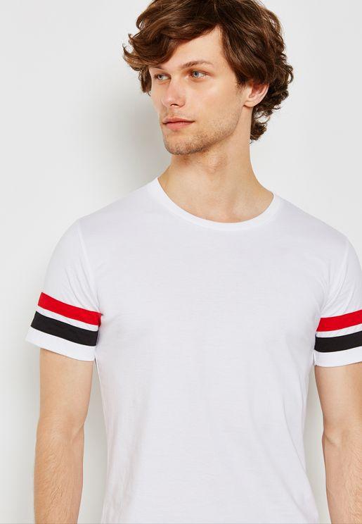 Arm Stripe Crew Neck T-Shirt