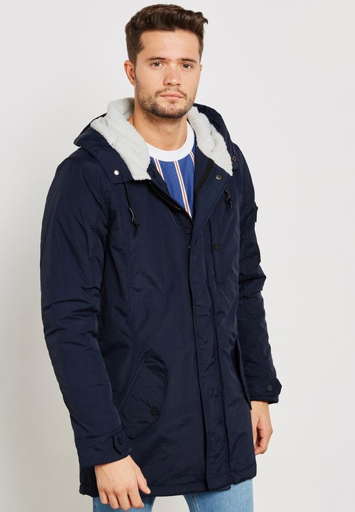 Hooded Fishtail Parka. Concealed Cf Metal Zip