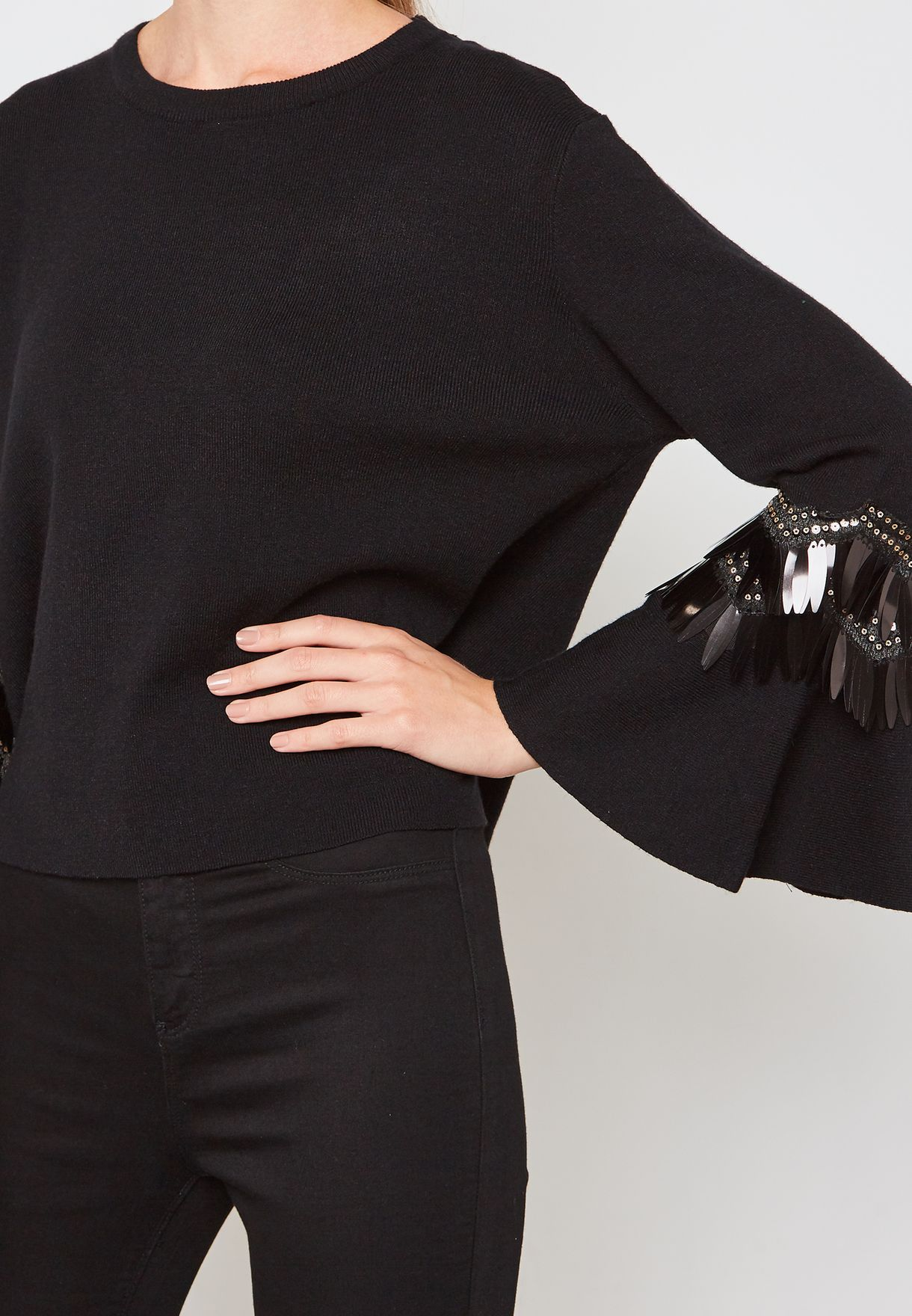 Embellished Flute Sleeve Sweater